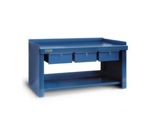 mesa de trabajo de hierro con cajones