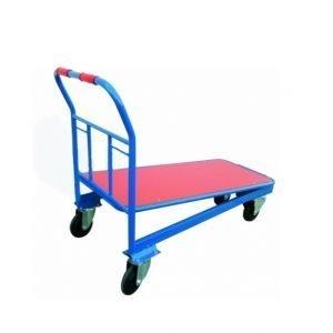 plataforma con ruedas de madera para transporte de paquetes